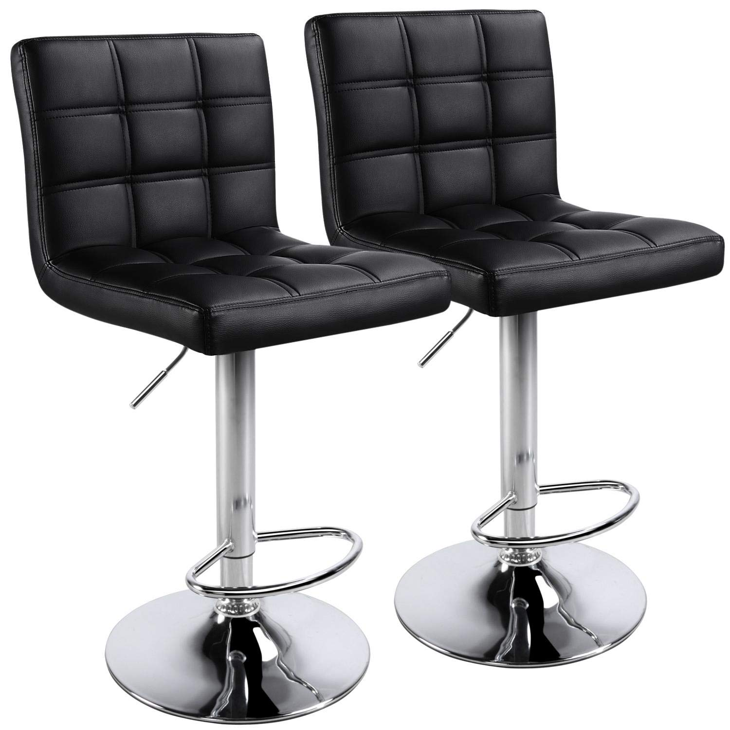 Yaheetech Bar Stools - Modern Adjustable Kitchen Island Chairs Counter Height Barstools Swivel PU Leather Chair Black 30 inches Set of 2,with Bigger Base