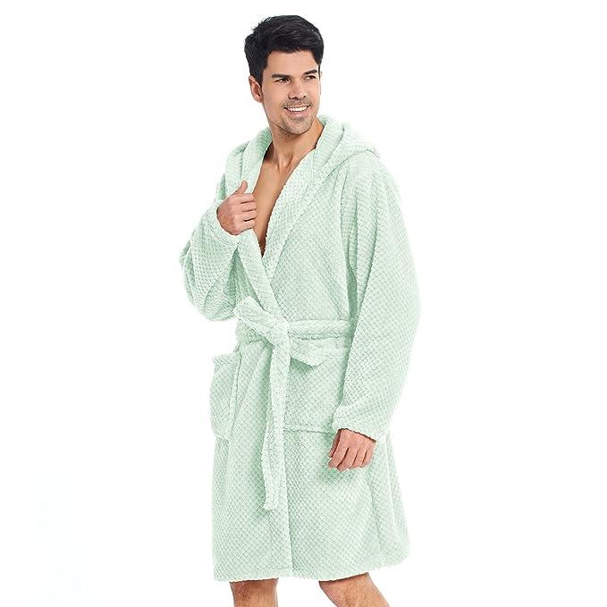 34e2f2026f Bathrobe XL Short Women Men Unisex Hooded Dressing Gown Microfibre Soft  Snug Cosy Fleece Mint Peppermint Sleepyhead  Amazon.co.uk  Kitchen   Home