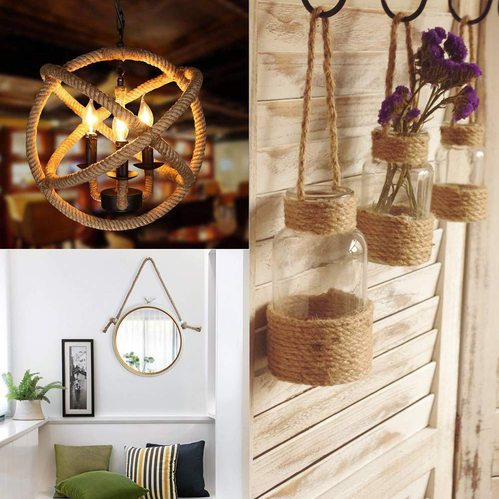 LYTIVAGEN 32Ft Natural Jute Hemp Rope Thick Strong Jute Rope Cord for Craft DIY Christmas Gift Pendant Light Fence Diameter 10mm