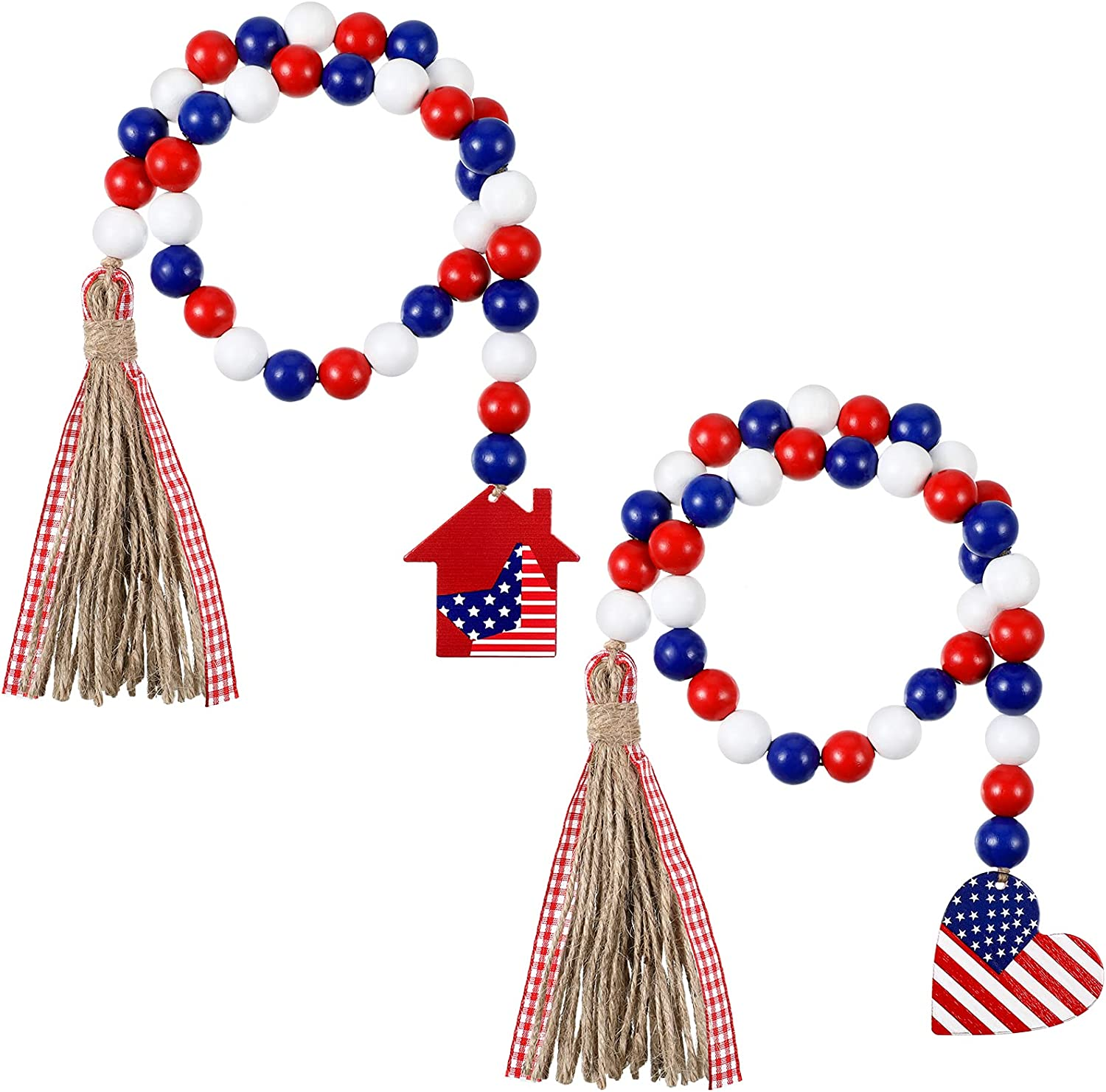 2 Pieces Independence Day Patriotic Wood Bead Garland with American Flag, Farmhouse Wall Hanging Prayer Beads with House Heart House Shaped Flag Tags Plaid Rustic Tassel Tray Decor for 4th of July