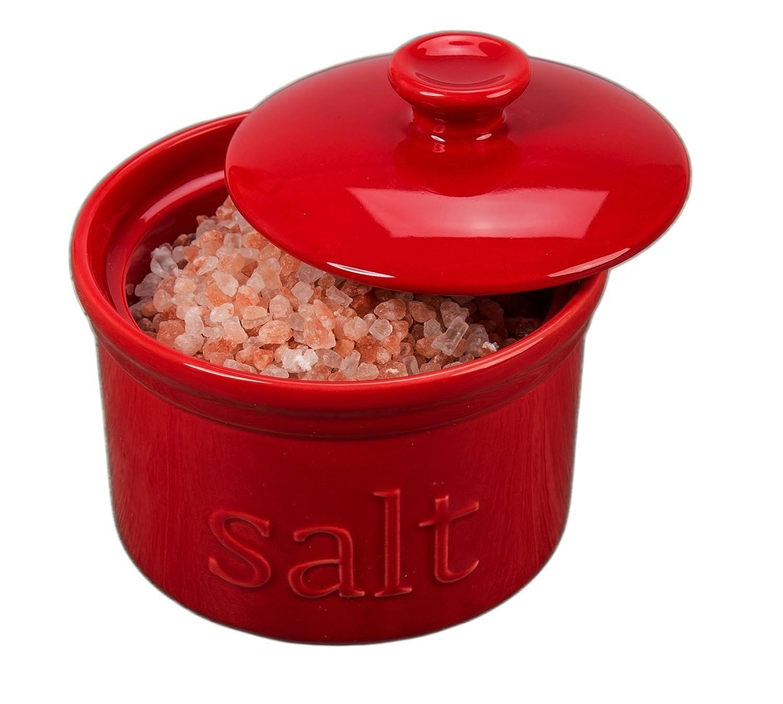 BIA Cordon Bleu 4 10 oz Porcelain Salt Box with Lid Red