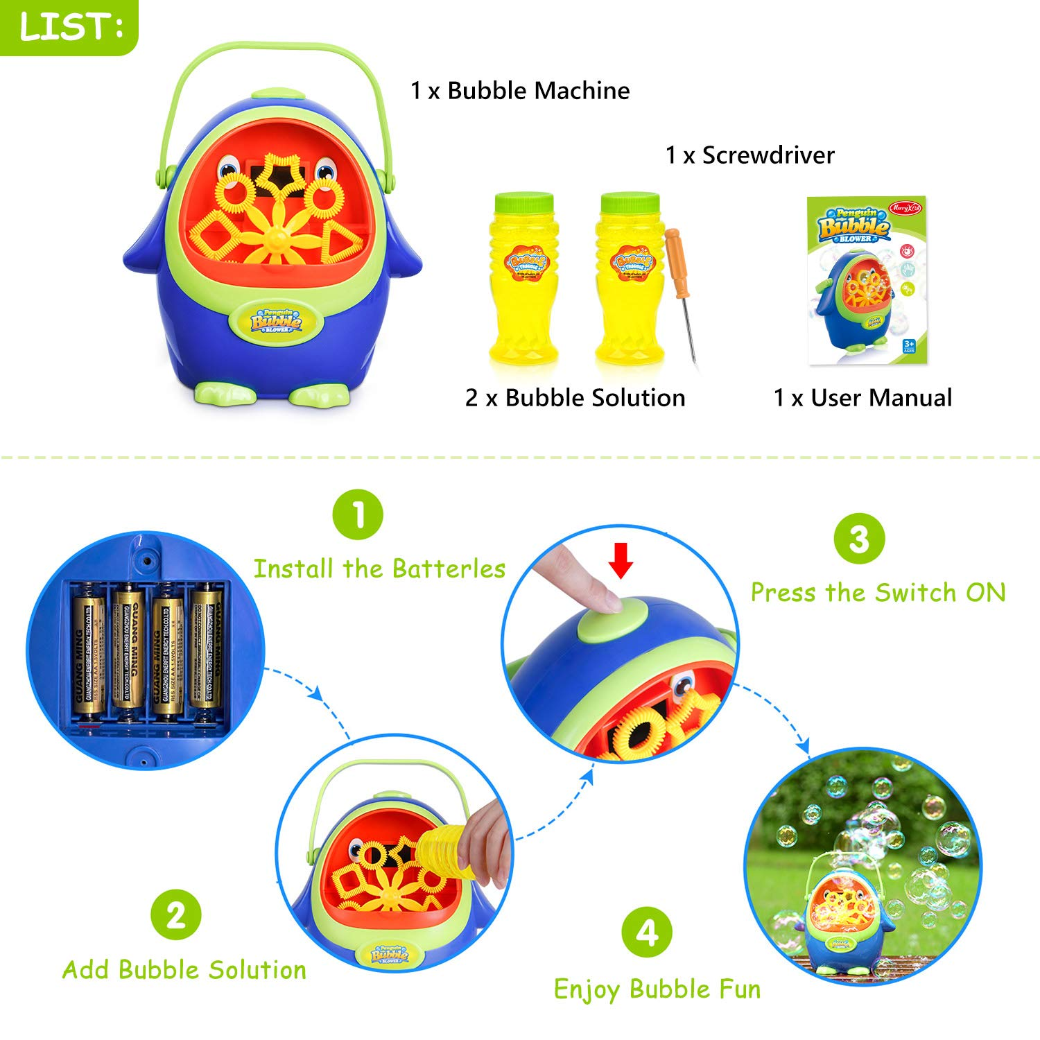 Bubble Machine - Automatic Bubble Blower with Bubble Solution for Kids Toddlers, Portable Bubble Maker with Bubbles Solution for Party, Wedding, Outdoor and Indoor Use, Battery Operated, Penguin Shape by LOYO (Image #3)