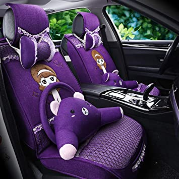 Amazon Com Car Seat Cushion Car Seat Cover Car Interior Decoration Four Seasons New Linen Seat Cover Cute Girl Creative Car Seat Color Purple Baby