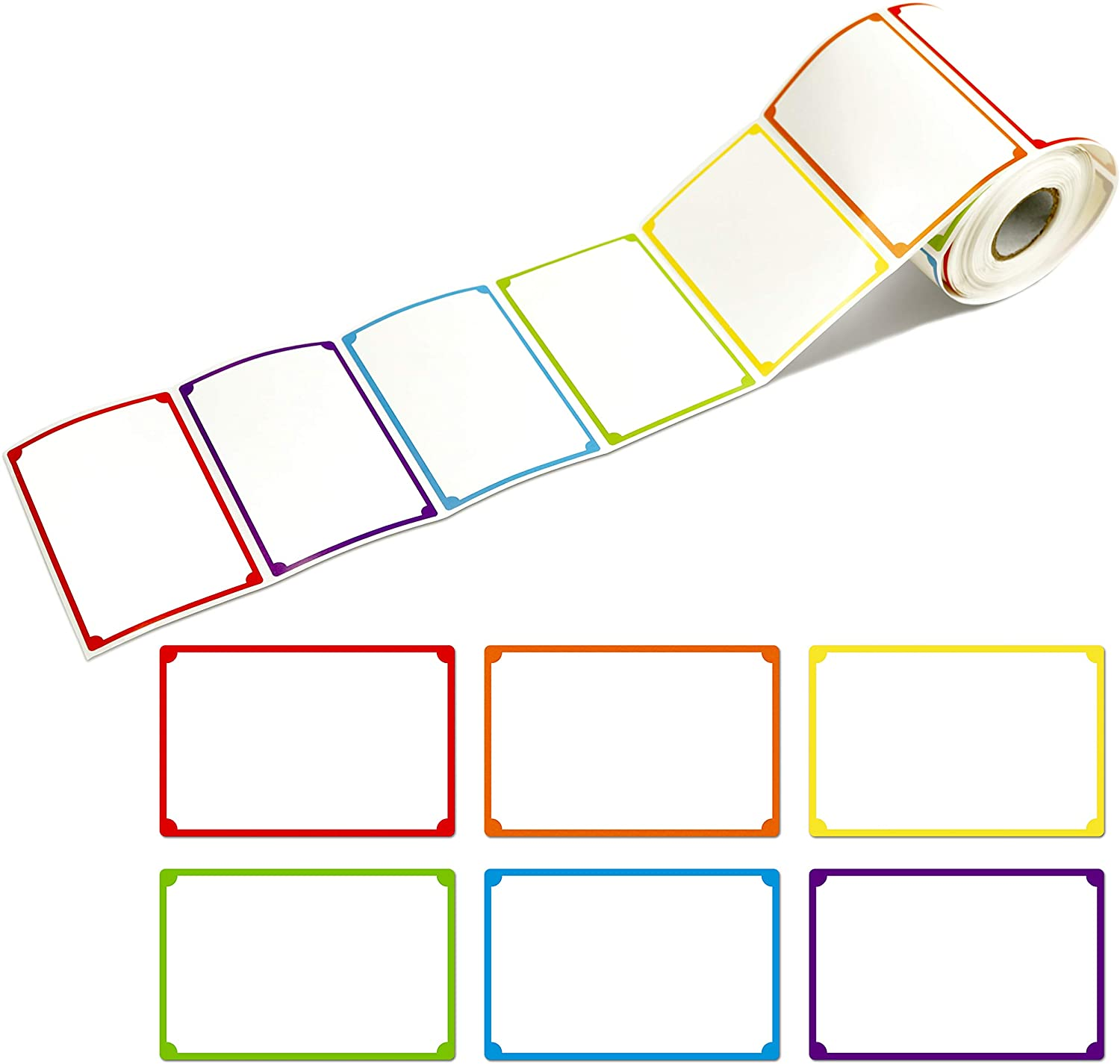 "300pcs 6 Colors Plain Name tag Labels with Perforated Line for School Office Home (3.5""x2.2"" Each) …"