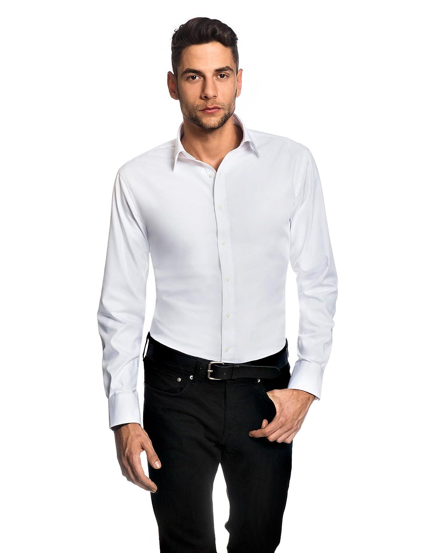 Embraer Camisa de Hombre, Ajustada Entallada (Slim-fit), 100% algodón, Manga-Larga, Cuello Kent, Lisa - no Necesita Plancha
