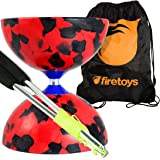 Jester Medium Diabolo (R/Bk) with Aluminium Diablo Sticks (incl string) & Firetoys Bag