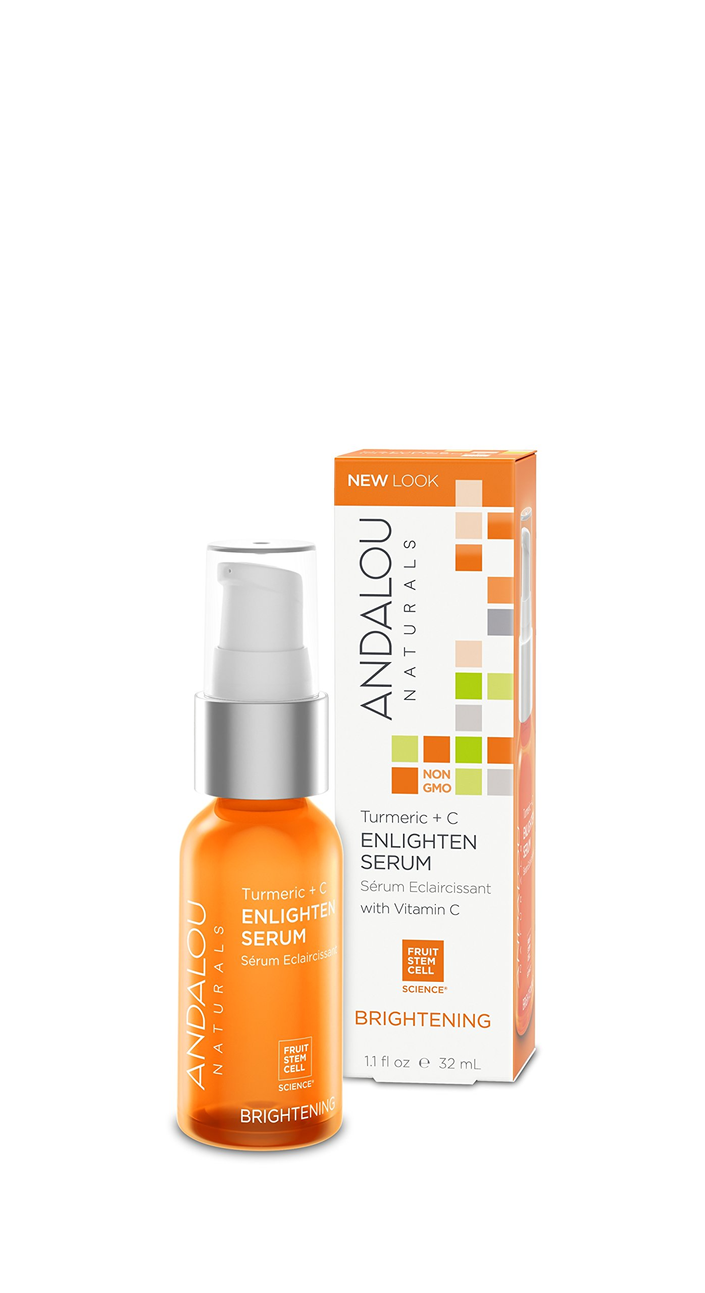 Andalou Naturals Turmeric + C Enlighten Serum, 1.1 oz, Helps Brighten, Firm, Even Skin Tone With Vitamin C for Healthy Looking Glow