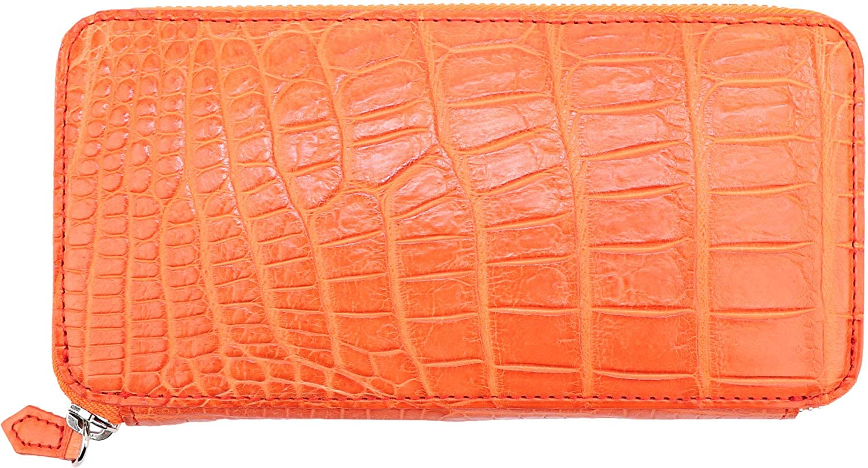 [QUATTRO GATTI クアトロガッティ] クロコダイル シルバーラウンドジップ 長財布 8101 ORANGE(オレンジ) B07L863X5B  F