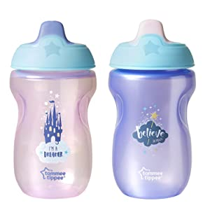 Tommee Tippee Deco Easy Grip Sippee Cup, BPA-Free, Believe, Pink & Purple, 10 Ounce, 2 Count