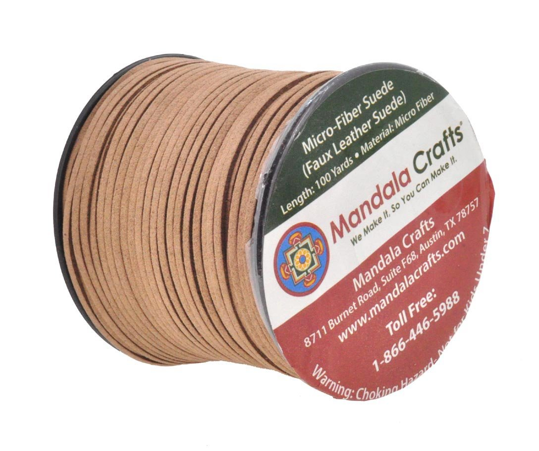 Russet Brown Mandala Crafts 100 Yards 2.65mm Wide Jewelry Making Flat Micro Fiber Lace Faux Suede Leather Cord