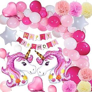 Yansion Unicorno Festa Decorazione Palloncini Supplies,39 Pezzi Decorazione Unicorno Festa di Compleanno...