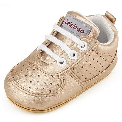 40458f9bd3cc1 DELEBAO Chaussure Cuir Bébé Chaussures Premiers Pas Chaussure de Marche  Bébé Bottine Bébé Basket (0
