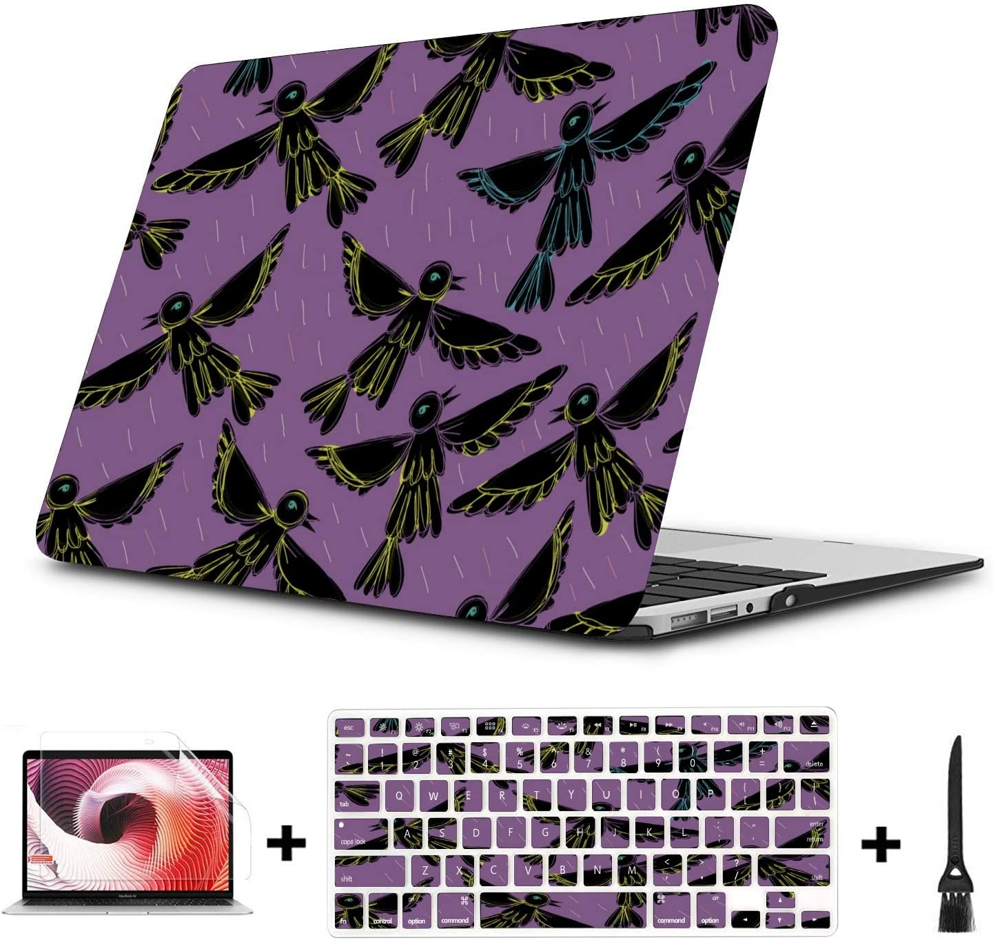 Mac Pro Case Spring Cute Hummingbirds Flowers Plastic Hard Shell Compatible Mac Air 11 Pro 13 15 Mac Pro Cover Protection for MacBook 2016-2019 Version