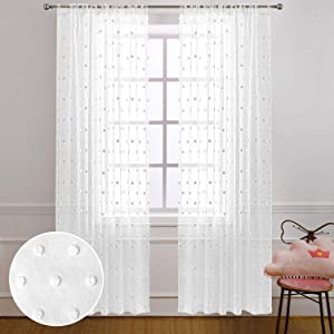 White Curtains 84 Inches Long for Bedroom 2 Panels Rod Pocket Farmhouse Boutique Pom Pom Design Boho Decor Semi Sheer Textured Decorative Curtains for Living Room Dining Girls Kid Nursery 52x84 Length