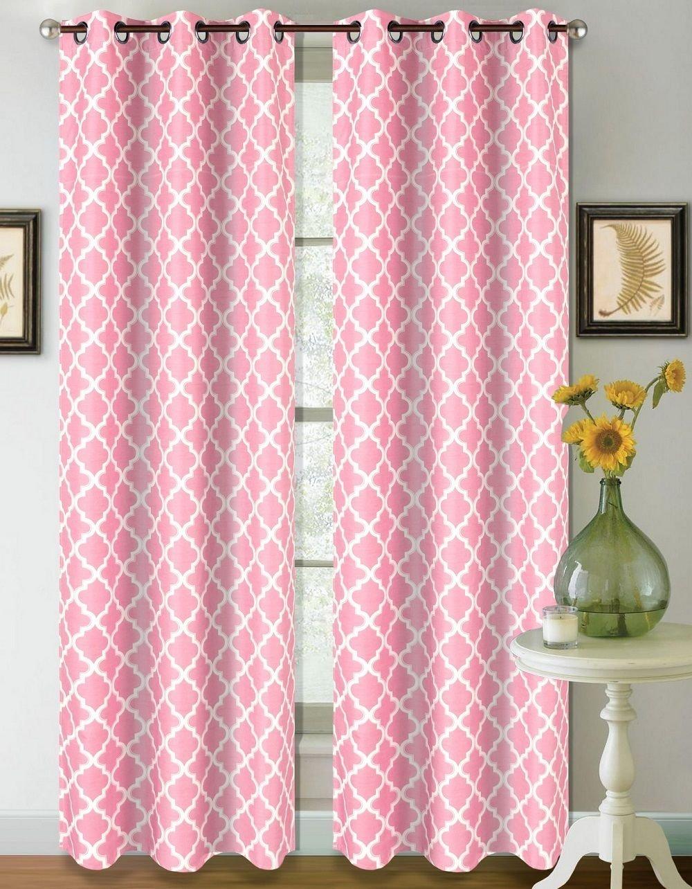 1 Set Light Pink White 108'' Geometric Lined Blackout Grommet Window Curtain