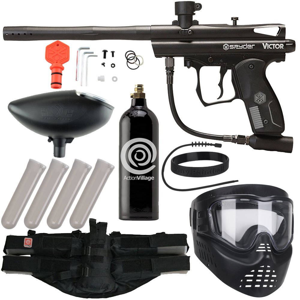 Action Village Kingman Spyder Epic Paintball Gun Package Kit (Victor) (Black) by Action Village