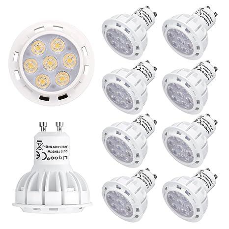 Liqoo® 10x 7W Bombilla LED GU10 LED Blanco frío 6000K Termoplástico Foco LED Ángulo del ...