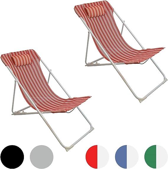 Harbour Housewares Tumbona reclinable y Plegable - Metal - Rayas Rojas - Pack de 2: Amazon.es: Hogar