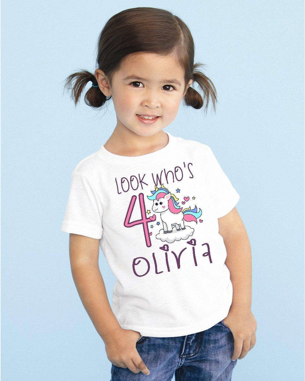 Look Who's Girls Kids Youth Unicorn Personalized Birthday T Shirt TEE Custom NAME AGE Cute Magic Gift DESIGN 3