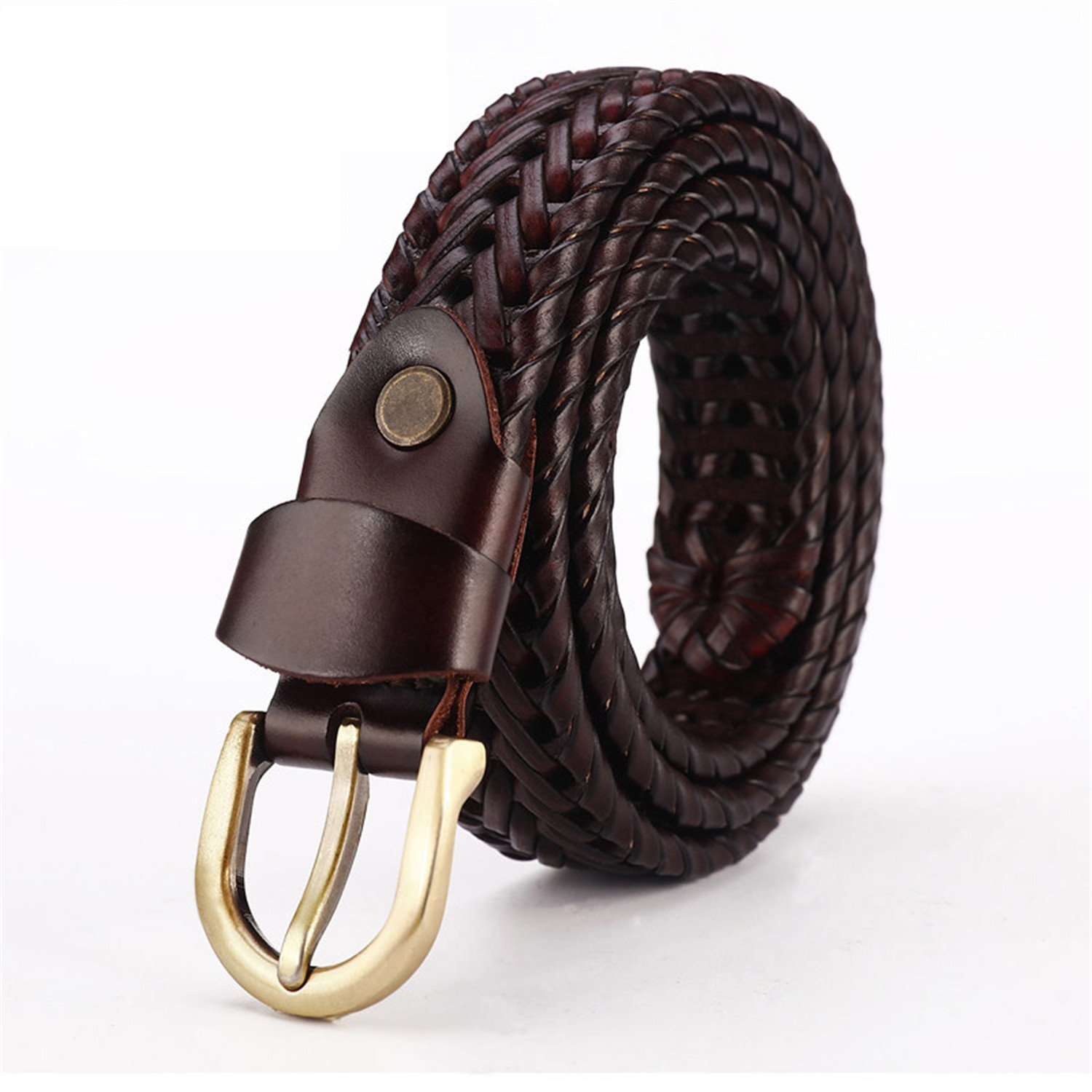 Reinhar Woven belt genuine leather women's straps man belts Wide girdle Male cow skin vintage fashion brand ceinture femme woman coffe 90cm