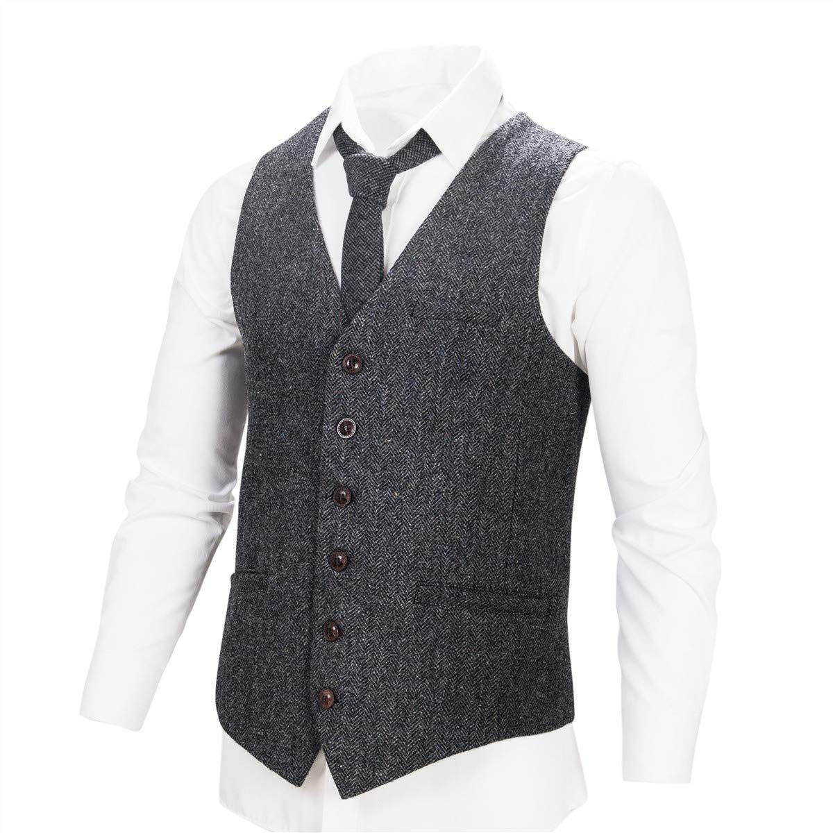 VOBOOM Men's Slim Fit Herringbone Tweed Suits Vest Premium Wool Blend Waistcoat (Flecked Grey, M)