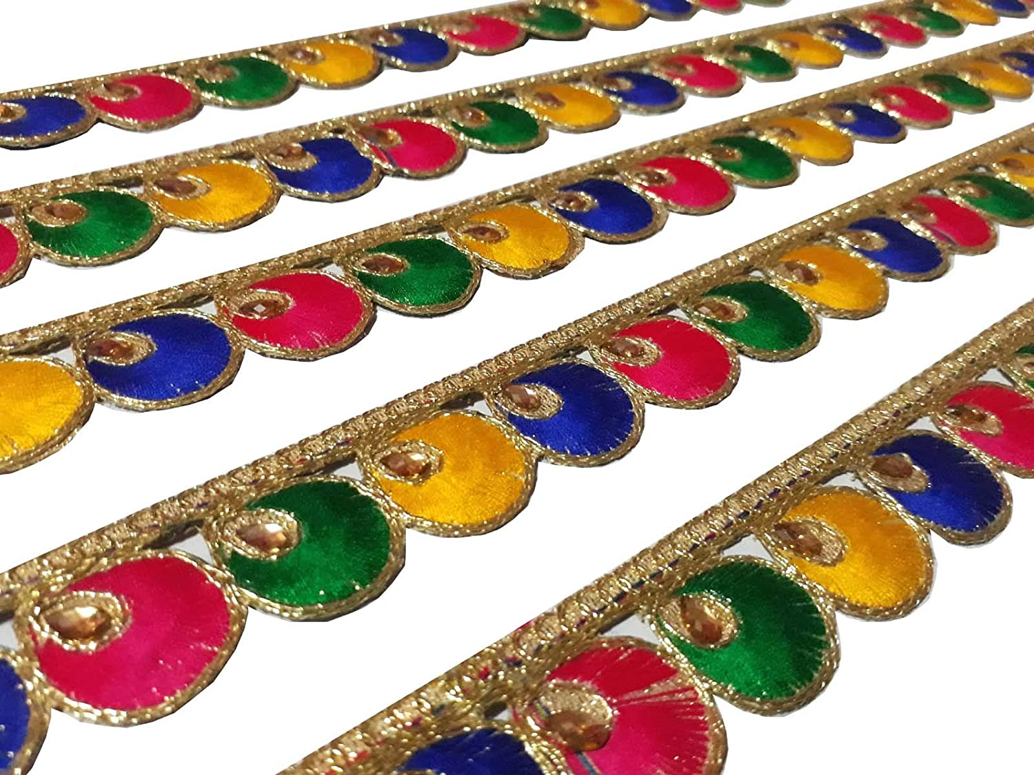 9 Yard Kundan Multicolor Trim Dupatta,Saree,Sari Kundan Lace,Glass Beads,Stone Work Border,Bollywood Sari,Wedding Golden