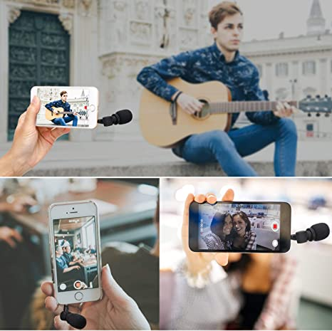 Mic for iOS Apple iPhone 7 7s 8 X 11 6 6s iPad and Android Phone Saramonic Mini SmartMic Directional Condenser Flexible Microphone for Smartphones,Vlogging Microphone for iPhone and YouTube Video