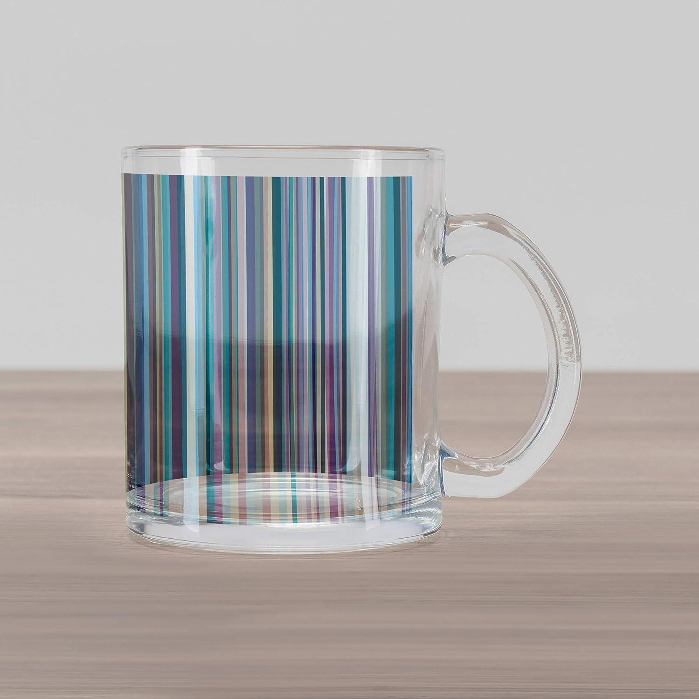 b5cd795d6b3 Ambesonne Striped Glass Mug, Blue Purple Teal Aqua Lavender Colored  Vertical Stripes Geometric Abstract Vintage, Printed Clear Glass Coffee Mug  Cup for ...