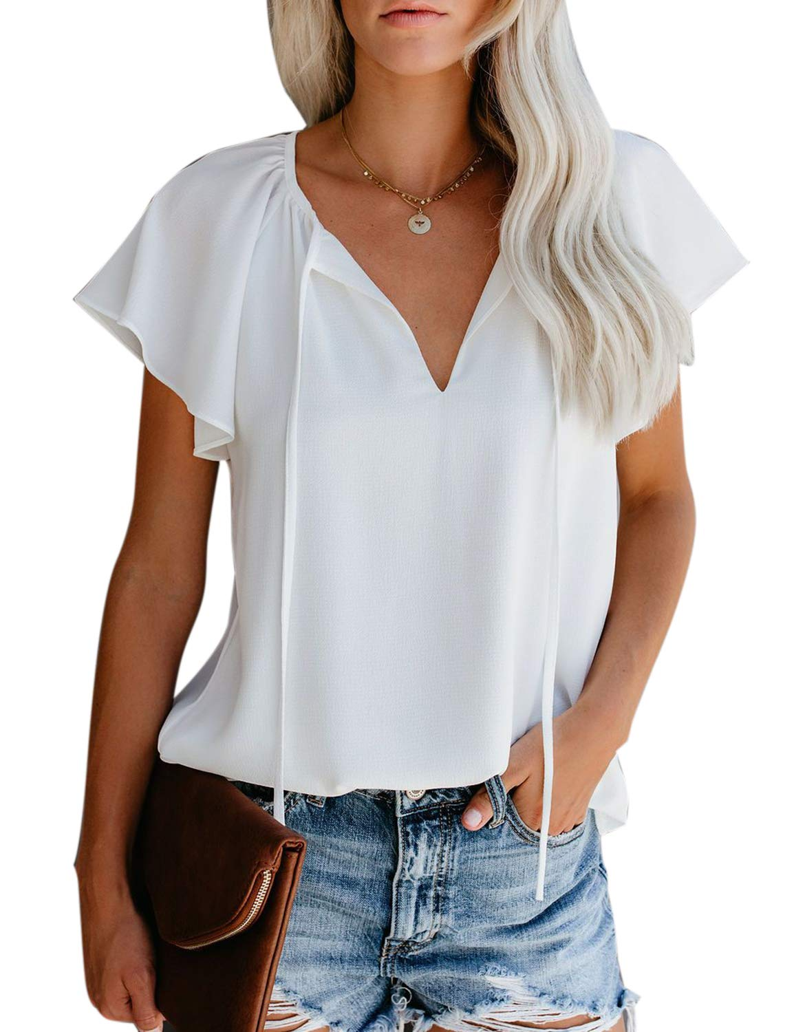 MAY Women's Elegant Chiffon Blouse V Neck Short Sleeve Tie Front Loose Shirt White