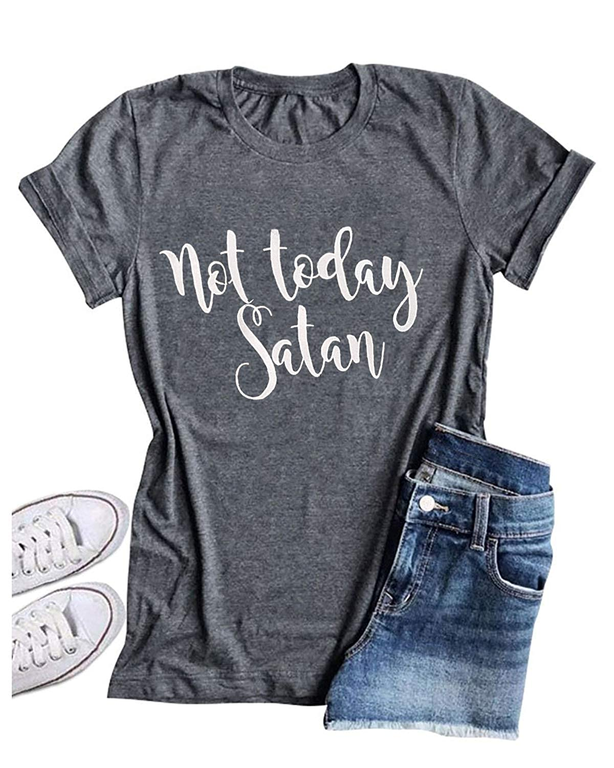 c8cf4905 Enmeng Womens Causal Not Today Satan Printed T-shirt Christian Graphic Tees  Normally 1-5 days via Fulfilled by Amazon or 7-14 days via merchant  shipping.