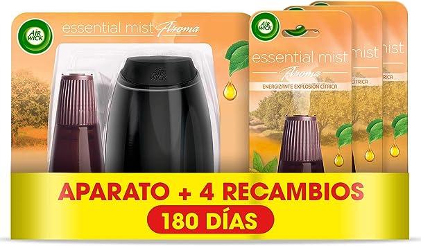 Air Wick Essential Mist - Aparato y recambios de ambientador difusor, esencia para casa con aroma a Explosión Cítrica - pack de 1 aparato y 4 recambios: Amazon.es: Salud y cuidado personal