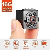 Minikamera Full HD 1080P 12MP Tragbare Versteckte Spionage-Kamera mit Nachtsicht, Bewegungserkennung, unterstützt 16GB TF-Karten als Nanny Cam Oder für Heim-und Büro-Überwachung (SQ8 16G)