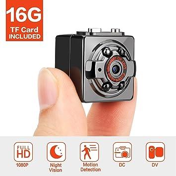 Mini cámara Full HD 1080p 12 MP portátil cámara espía oculta con visión nocturna, detección de ...