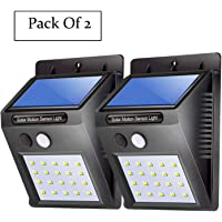 Decorcrafts Set of 2 Solar Wireless Security Motion Sensor LED Night Light (Black)