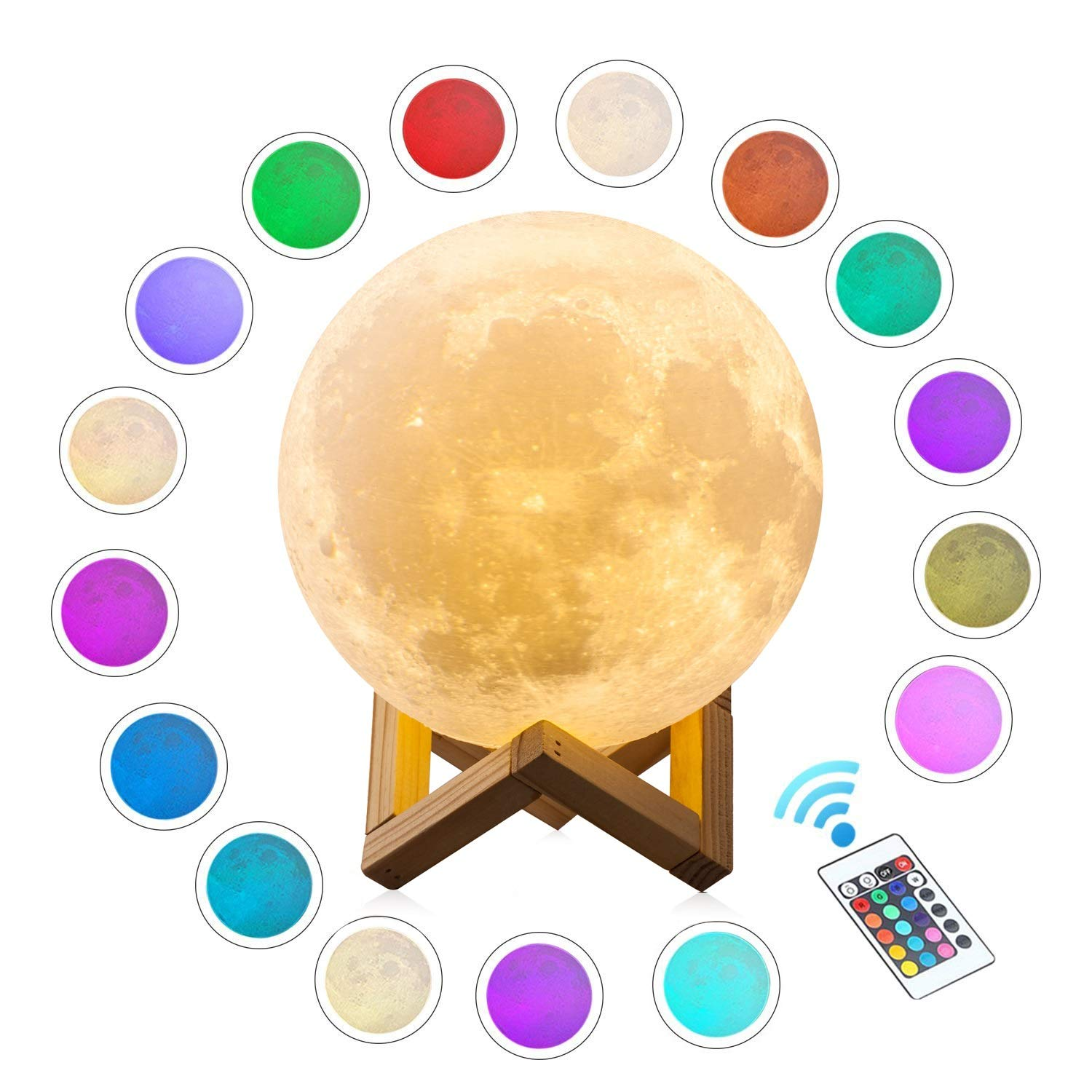 Extra Large!!! CPLA Seamless Moon Lamp 16 Colors LED Lunar Lamp Dimmable Brightness with Remote & Touch Control Large Moon Light Gifts for Love Dimeter 7.1inch