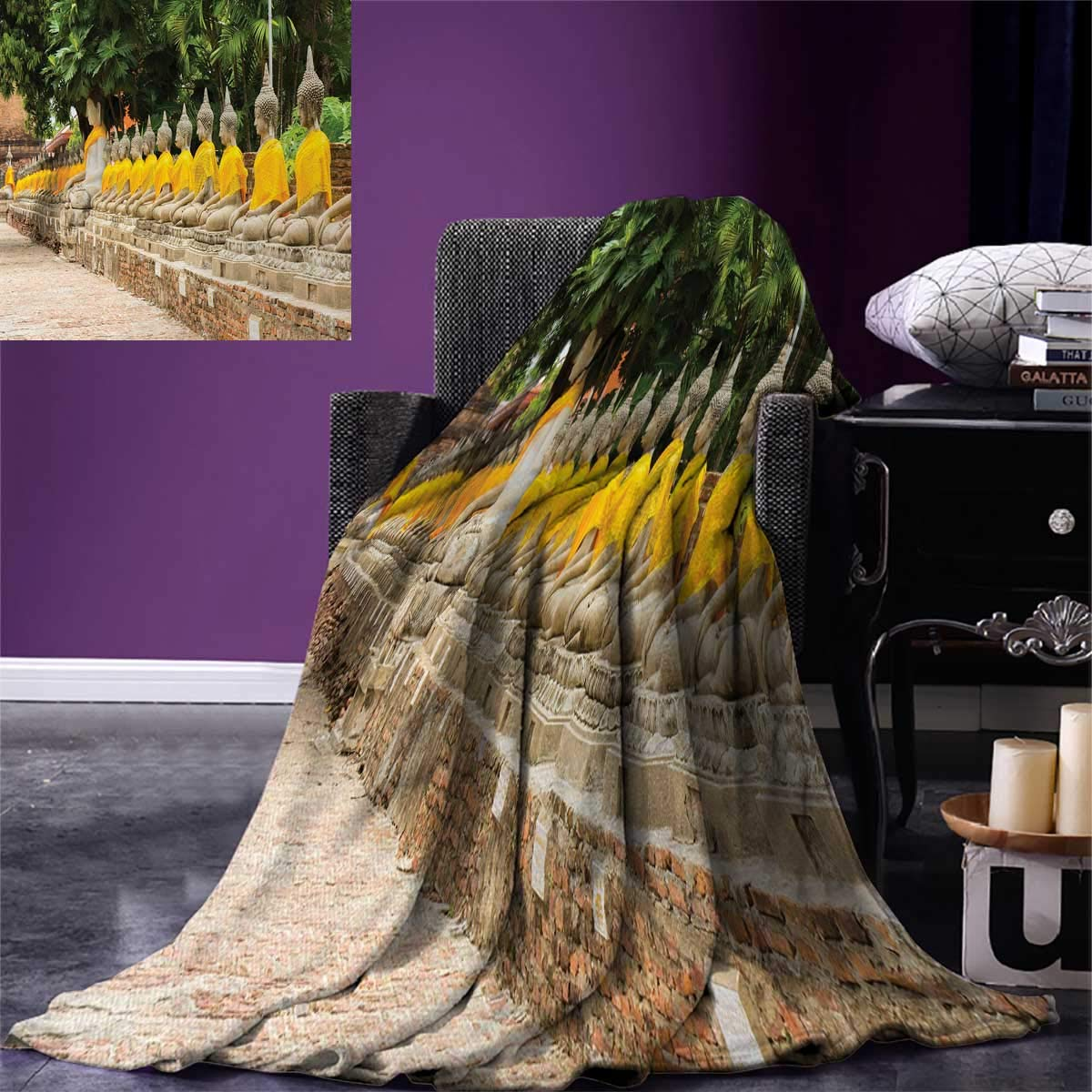 smallbeefly Asian Digital Printing Blanket Picture Aligned Religious Statues in Thailand Traditional Thai Design Summer Quilt Comforter 80''x60'' Cream Yellow Green by smallbeefly
