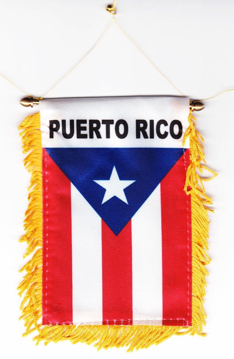 amazon com puerto rico fringed window hanging flag puerto