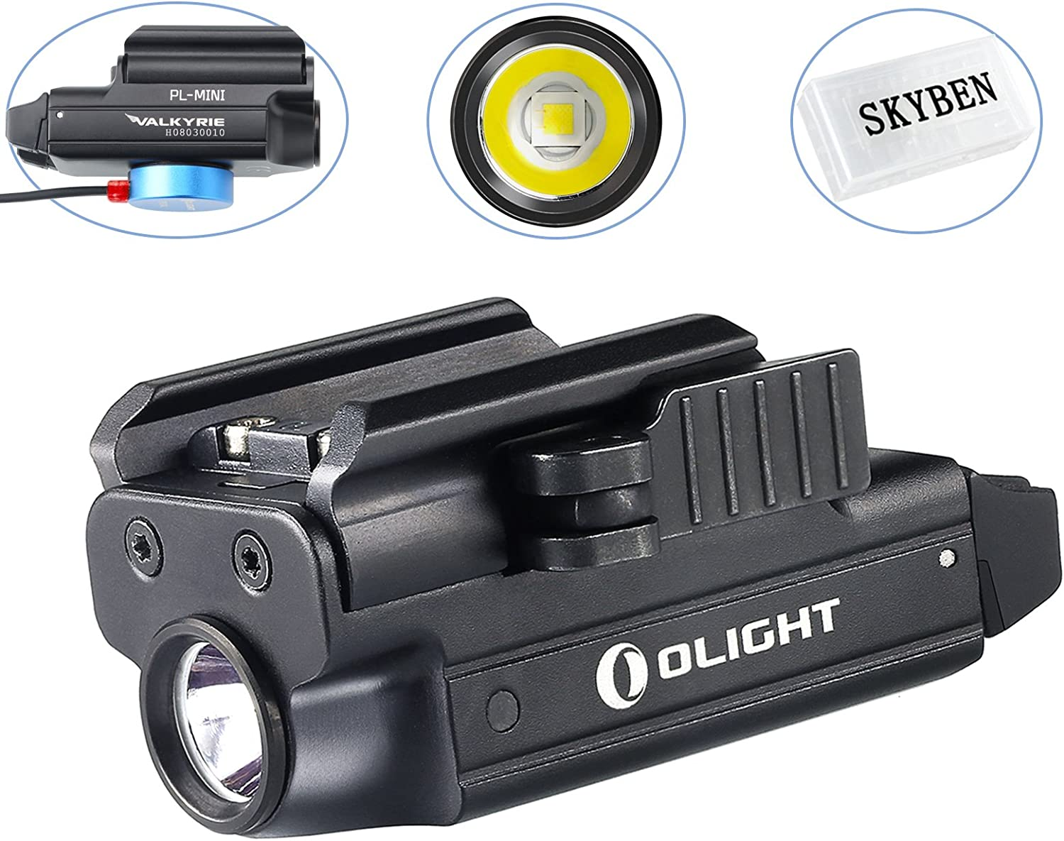 powered by a built-in lithium polymer battery with SKYBEN Accessory Olight PL-MINI Valkyrie 400 Lumens CREE XP-L HI Magnetic USB Rechargeable Weapon Light PL-MINI