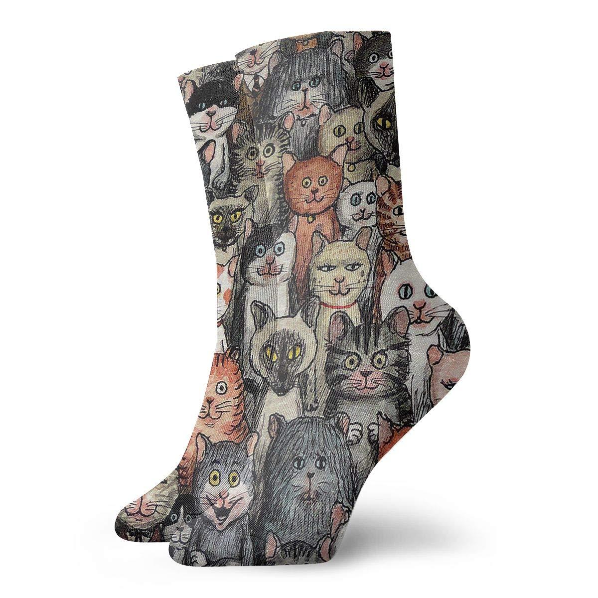 Cute Cartoon Cats Unisex Funny Casual Crew Socks Athletic Socks For Boys Girls Kids Teenagers