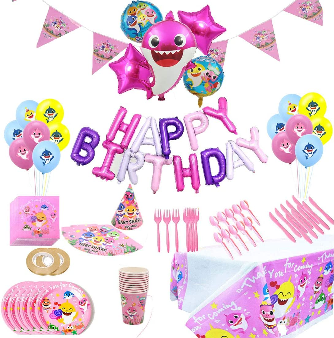 Baby Pink Shark Party Supplies Set Shark Birthday Decorations and Tableware Kit for Girls-97Pcs Shark Theme Birthday Party Supplies Include Favors, Banner, Balloons, Table Cloth, Plates and 10 Sets of Tableware