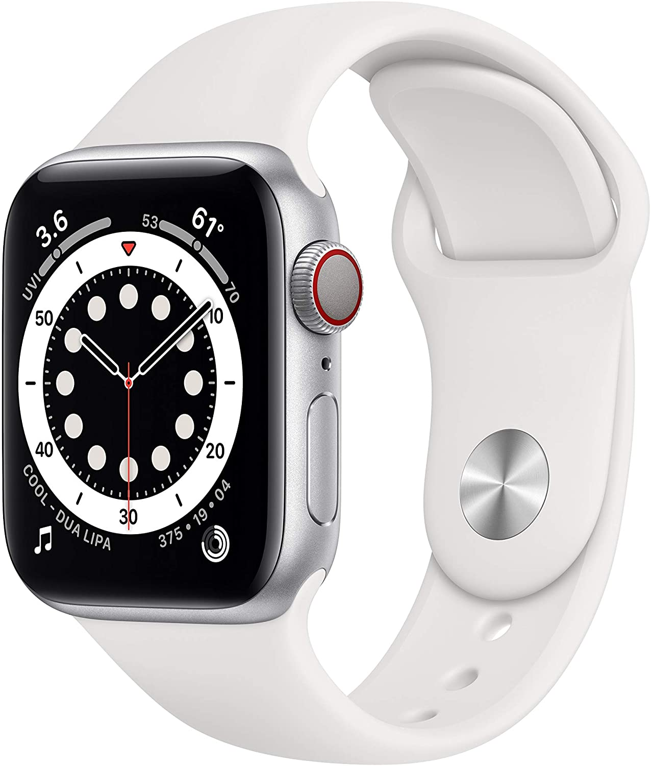 New AppleWatch Series 6 (GPS + Cellular, 40mm) - Silver Aluminum Case with White Sport Band