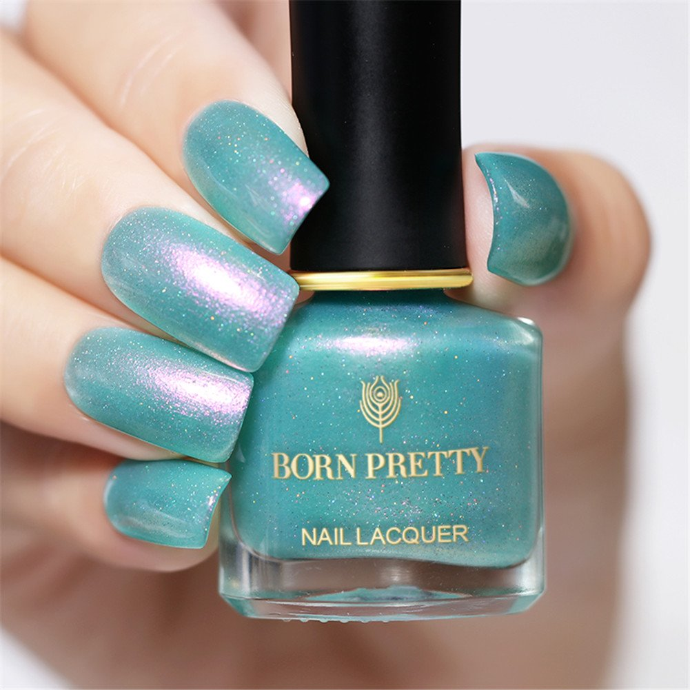 929aa0f8bc0 Amazon.com   BORN PRETTY Nail Polish Set Chameleon Nail Glimmer Shell  Glitter Nail Lacquer Varnish 4 Bottles Nail Art Set