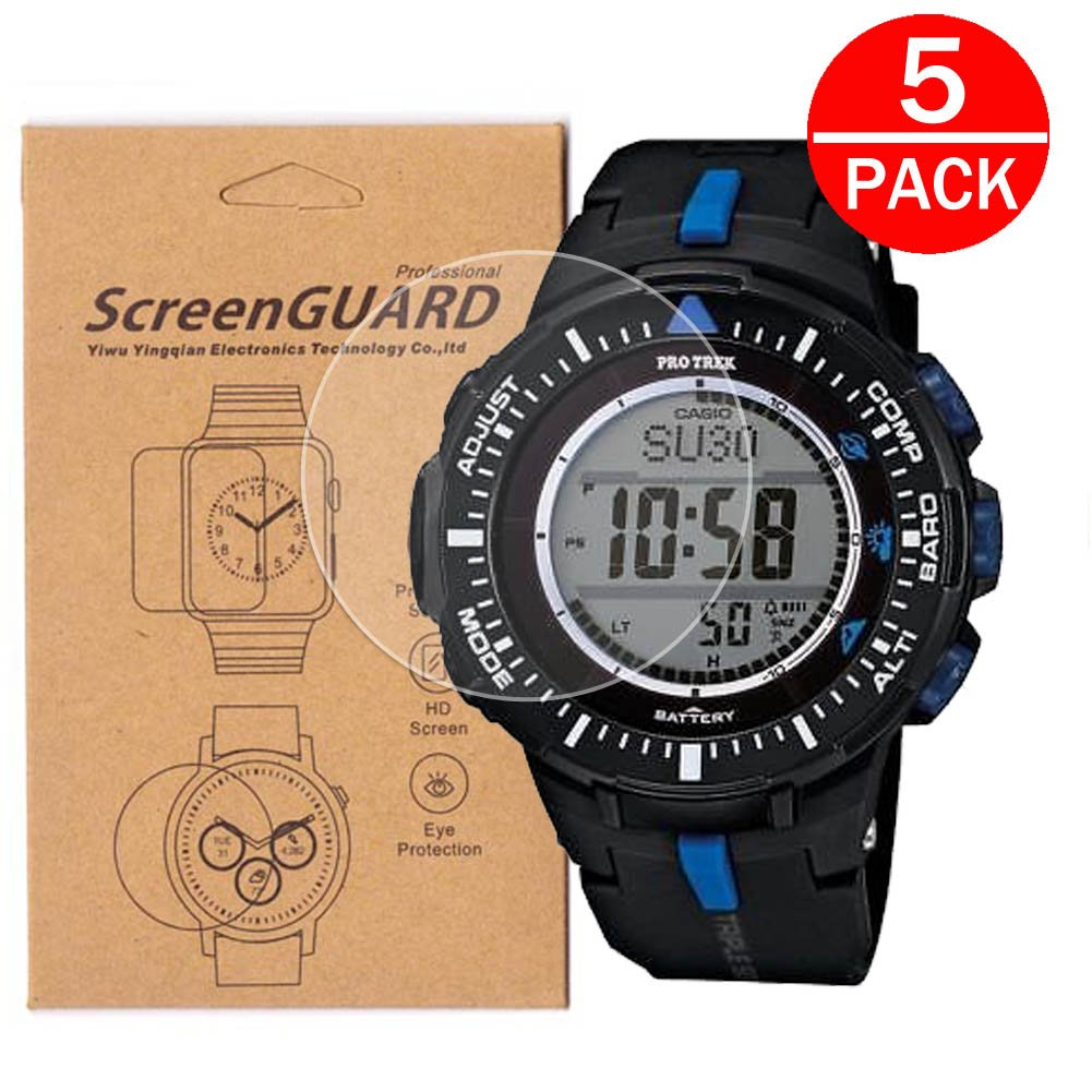 [5-Pack] For Casio PRG-300 Watch Screen Protector,Full Coverage Screen Protector for Casio PRG-300/PRG-300-1A2CR/PRG-300-1A9CR Watch HD Clear ...
