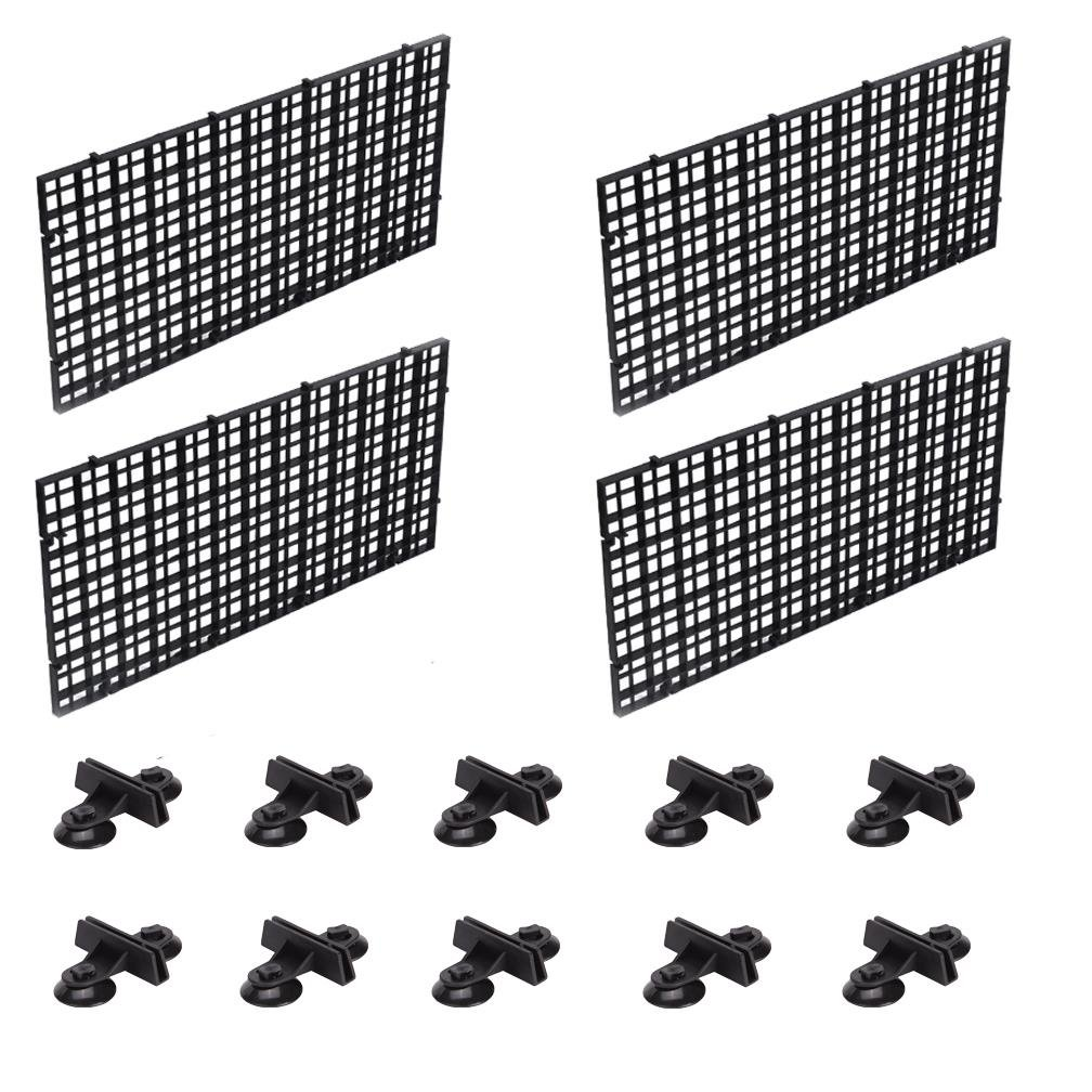 OBANGONG 4 Pcs Grid Isolate Board Divider Fish Tank Bottom Filter Tray Aquarium Crate with 10 Pcs Sucker Clip by