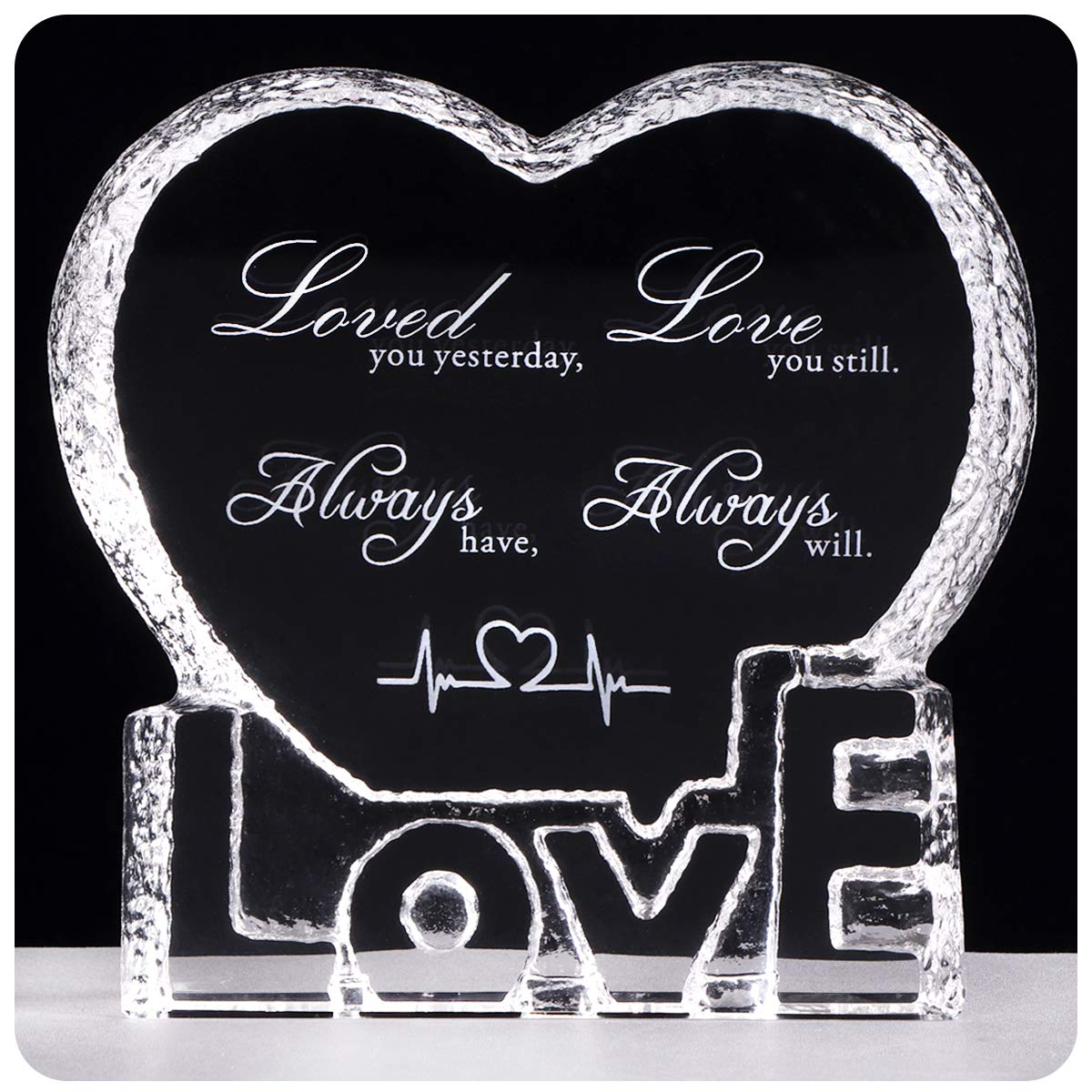 YWHL Custom Wedding Anniversary Sculpture - Perfect Personalized Crystal Couple Gift for Him Husband Boyfriend Her Wife Girlfriend Valentine's Day by YWHL
