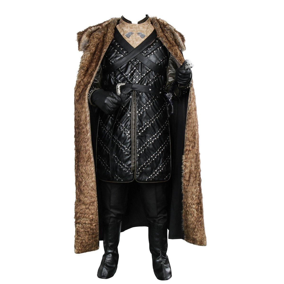 Got Deluxe Game Season 7 Jon Snow Cosplay Costume Armor Cloak Outfit (Large)