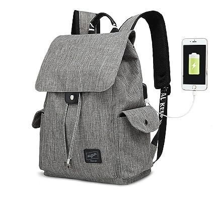 b73a00ab6d Unisex Multiuso Antifurto Zaino Con Porta USB,Tela Zaini Vintage Zaino Uomo  Donna Canvas PC Portatile Backpack Rucksack Viaggio Zaino Trekking Zaini ...