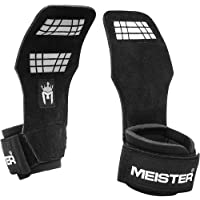 Meister Elite Leather Weight Lifting Grips w/Gel Padding (Pair)