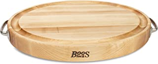 product image for John Boos Block MPL-OV2015225 Maple Wood Edge Grain Reversible Oval Cutting Board with Stainless Steel Handles, 20 Inches x 15 Inches x 2.25 Inches