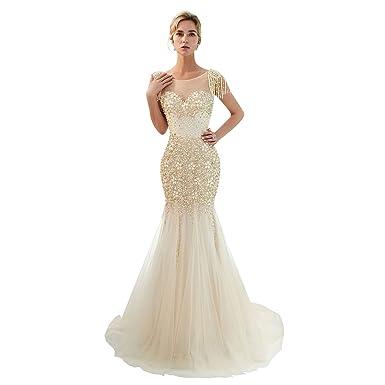 85907d14 Trendership Women's Sexy Scoop Neck Sparkle Rhinestones Long Prom Dress  Sequin Beading Mermaid Evening Gowns (